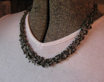 Interesting Sequined- Links Multi Strand Necklace.