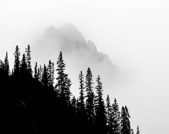 Black and white photography, Banff national park, Canada, Canadian Rockies, alberta , mountains, forest, fine art photo, wall art, prints,
