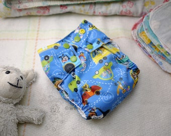 Medium Cloth diaper (14-26 lbs.) - Animal Cars - Handmade AIO diaper - cloth nappy - all in one - Zoo Traffic - Snap in trifold insert