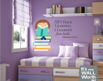 Girl or Boy Reading Books with Quote Vinyl Wall Decal - Nursery or Children's Room Wall Sticker