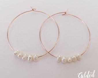 Satine Hoops — freshwater pearl earrings, rose gold, minimalist mermaid bridal bride wedding nashville rochester dainty 30mm