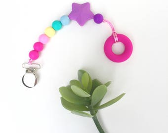 Rainbow Silicone Pacifier Clip, Paci Clip, Toy Clip, Soother Clip, Binky Clip, Baby Shower Gift