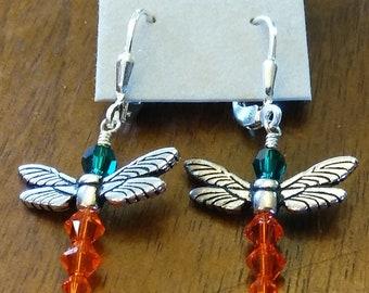Swarovski Crystal Dragonfly Earrings