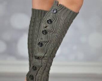 Khaki Button Winter Knit Leg Warmers