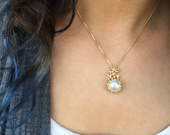 Coral gold pearl pendant necklace gold pearl necklace coral 14k gold pearl pendant necklace gold pearl necklace wedding bridal jewelry pearl bridal pearl necklace aloadofball Choice Image
