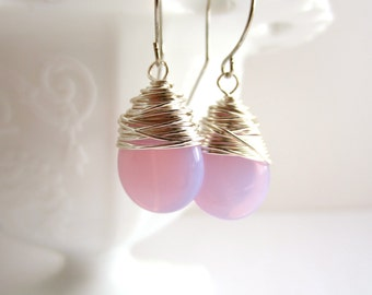 Pink Earrings Wire Wrapped Earrings Czech Glass Jewelry Dangle Earrings Tear Drop Earrings