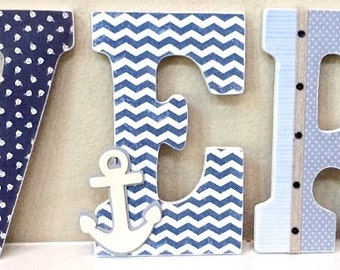 Sport themed nursery baby boy name wooden wall letters nautical baby boy name wooden wall letters personalized baby gift custom name negle Gallery