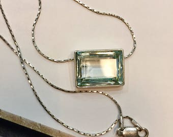 Choker necklace - silver chain and blue glass rectangular pendant carved like an aquamarine sky Navy