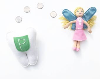 Personalized Tooth Fairy Pillow. Clover Green Pocket.