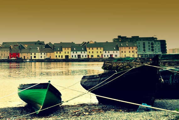 "Ireland  Fine Art Landscape Photograph of the Claddagh boats 18"" x 12"""