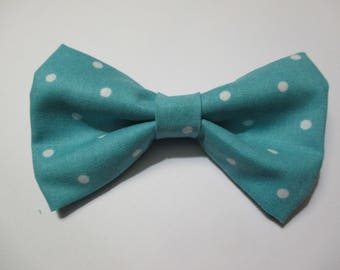 Nigel's Turquoise or Teal with White Polka Dot Bow Tie - Customer Request!