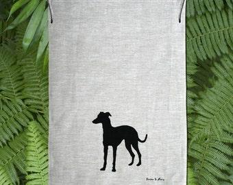 Whippet /Italian /Grey Hound Silhouette Hand Screen Printed Pure Linen Tea Towel Free Shipping Australia Wide