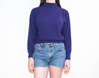 80s 90s purple mock neck knit / lightweight pullover sweater / size M