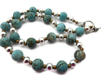 Chunky Turquoise Necklace, Turquoise Bead Necklace, Turquoise Statement, Southwest Style Necklace, Blue Green Necklace, Mixed Metal