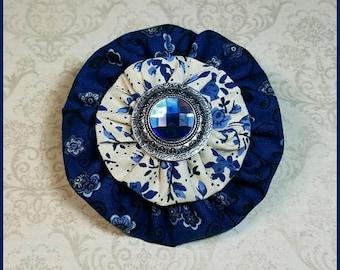 Yo-Yo Blue and Floral Hair Bow / YoYo Flower / Clip / Yo Yo Fabric & Button