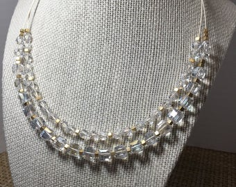Glass and Metal Beaded Double Strand Necklace
