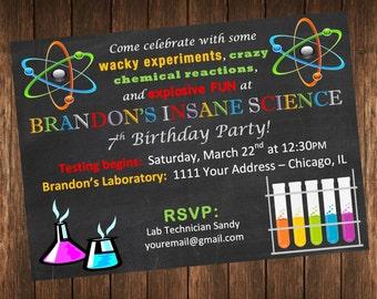 Insane Science Birthday Party Invitation / Science Laboratory Invite / DIY Printable