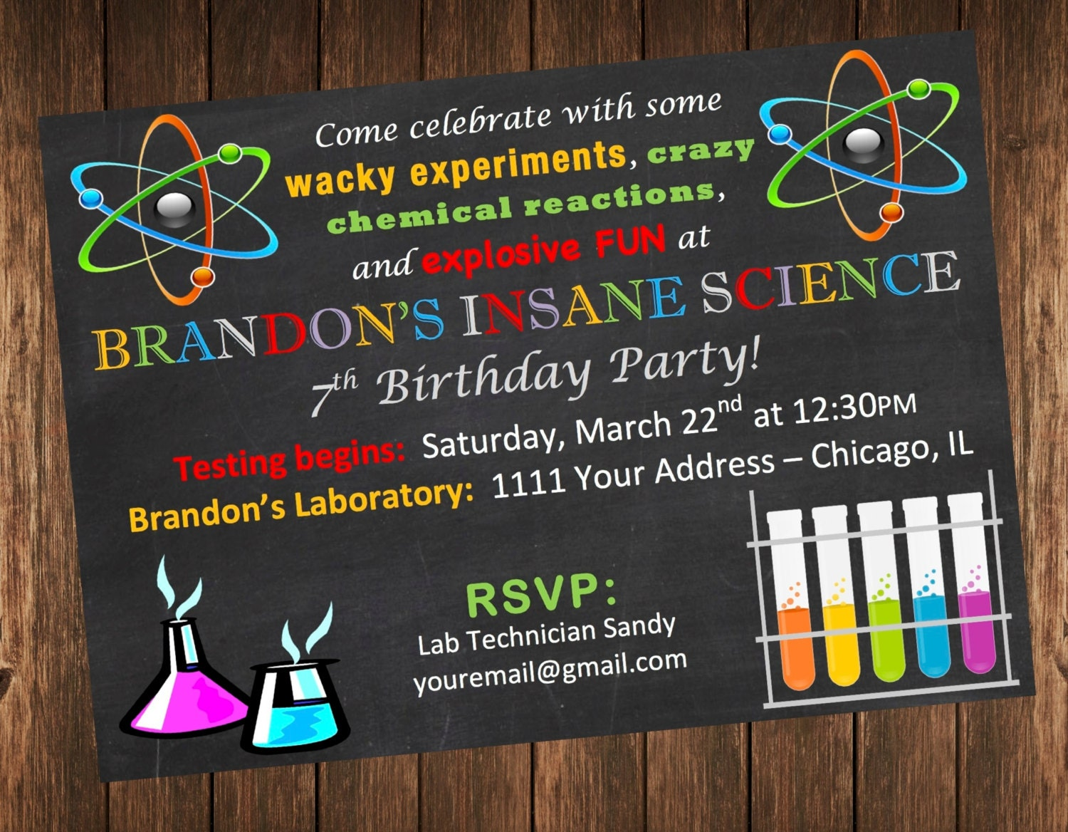 Insane Science Birthday Party Invitation / Science Laboratory