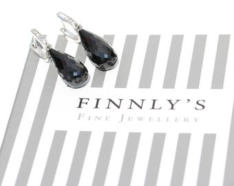 Black Spinel and white sapphires briolette drop earrings