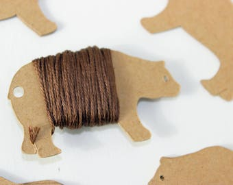 10 Bear floss cards. Bobbins for yarn, thread, or ribbon.