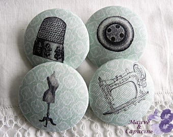 4 fabric buttons, retro fashion, 1.57 in / 40 mm