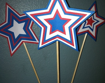 Star center pieces-red white and blue stars on sticks-fourth of july center pieces