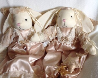 Set of 2 Angel Bunnies Beautiful
