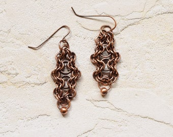 Copper Chainmaille Earrings