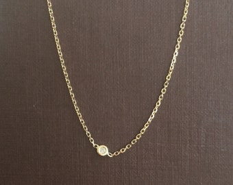 Special! 14k solid gold and natural white diamond necklace , simple necklace, dainty necklace, single diamond necklace, chocker diamond