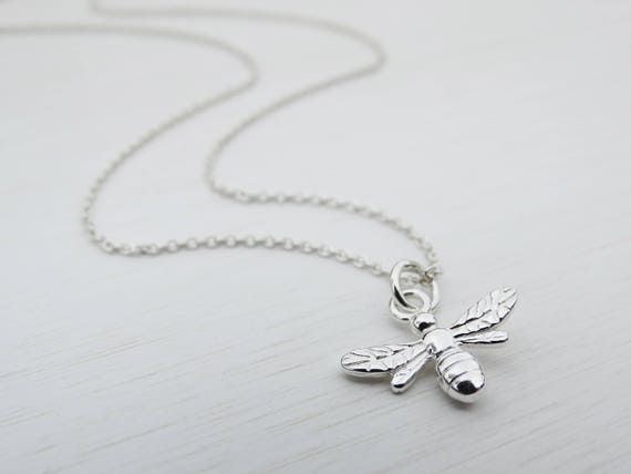 Silver Bee Necklace, Sterling Silver