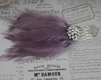 feather hair comb -Heather -  Fascinator - 1920s flapper style  -Bridal Hair Accessories - wedding headpiece Feather comb