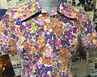 Womens Vintage 1970's Blouse Top Dagger Collar White Floral Flower Orange Pink Purple Cloth Size UK 12 Free UK & Cheap Worldwide Postage