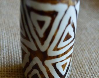 Hand-Carved Cheetah Design Batik Bone Desk Cup
