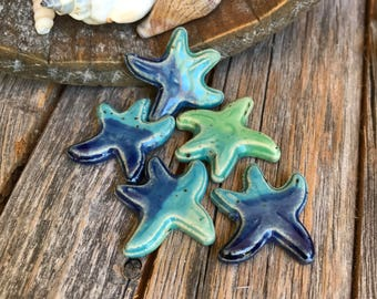 Set of 5 Ceramic Starfish Charms   Ceramic Jewelry   Stoneware necklace supply   Ocean Color Starfish Charm   DIY Pottery Jewelry Supply