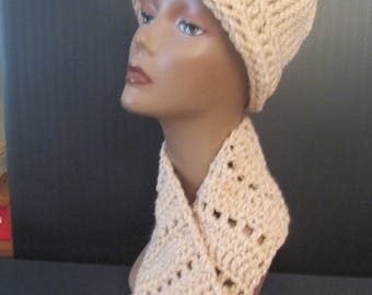 Handmade Beige Crochet and Knit Hat and Scarf Set -