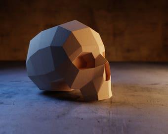 Human Skull - Polygon, 3D origami, Low poly paper 3d pattern diy papercraft, paper sculpture 3d template, papercraft skull replica