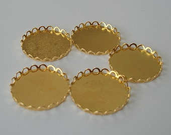 6-Cabochon Cameo Settings  Round  Bezel Lace Edge Gold Plated Brass 25mm