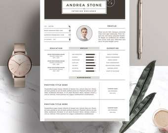 Resume Template 3pages for Interior Designer - CV Template & Cover Letter for MS Word - Instant Digital Download | Andrea Stone