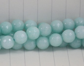 Sea Aquamarine Jade Faceted Beads --- 8mm --- Section Ball Beads --- 48 beads --- Full strand ---Hole 1mm