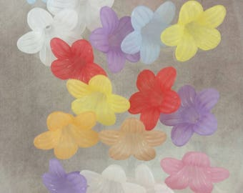 20 assorted frosted lucite flowers, bead cap, 25x10mm, #2