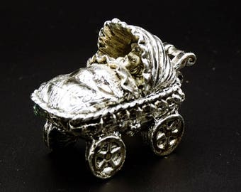 Vintage Tin Tooth Fairy Trinket Box Baby Stroller Baby Wagon