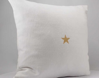 Cushion cover 40 x 40 cm Gold Star - star cushion - white pillow - decorative pillow - white linen - star cushion pillow - white cushion
