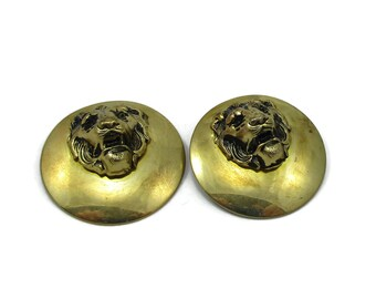 Gold Tone Lion Door Knocker Lion Face Head Clip On Earrings Statement Chunky Earrings Vintage Estate Runway Costume Jewelry 1980s High End