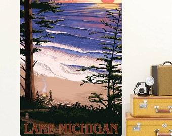 Lake Michigan Beach Sunset Wall Decal - #60926