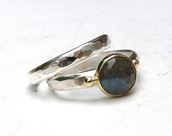 Set Engagement Ring and wedding band, Labradorite ring ,Silver sterling ring, Labradorite birthstone,  made to order, gift for her