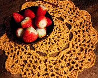 crochet place mats, coasters, doilies, yellow doily, eco friendly recycled cotton, set of 2