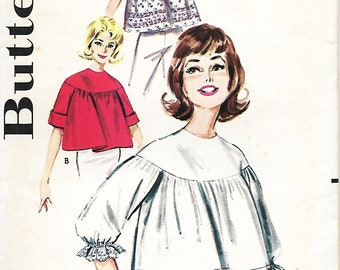 1960's Butterick 9981 Misses Quick 'N Easy Angel Top Blouse Sewing Pattern, Bust 31-32, UNCUT