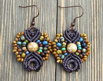 Micro-Macrame Earrings - Chocolate Picasso Mix