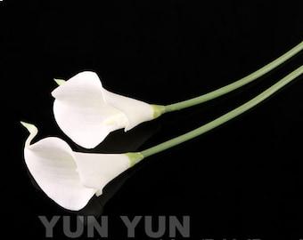 Calla Lily bouquet 1head White latex Real Nature Touche Flowers Bridal Bouquet Wedding Bouqut(1 Stem)