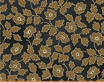 Tavern Signs ca 1830 by The Connecticut Historical Society for Windham Fabrics #30884-4 -- Golden brown Flowers on Navy Blue -- 100% Cotton